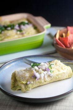 Chicken Enchiladas with Poblano Sauce | @Lauren Keating  (Healthy. Delicious.)