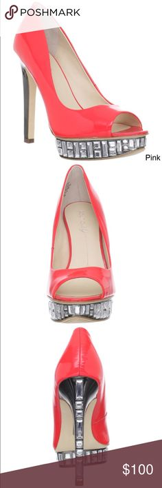 Boutique 9 Shoes Heels Pink Brand new with the box.                                                        •	Fashion heels 	•	Color options: pink 	•	Style: Peep-toe 	•	Material: Patent leather 	•	Toe shape: Round 	•	Heel height/type: 5.25 inches 	•	Platform height: 1.25 inches 	•	Width: Medium 	•	Lining: Unlined 	•	Sole: Manmade 	•	Imported Boutique 9 Shoes Heels