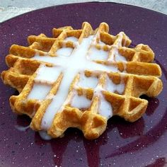 Pumpkin Waffles with Cream Cheese Syrup :) from Frugal Antics of a Harried Homemaker