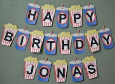 Movie Night Birthday Banner Movie Theme Party Decoration - Personalized Custom Message (Up to 20 letters) - Birthday - Movie Theatre Birthday Party, Movie Theater Theme, Movie Night Party, Movie Themes, Cars Birthday Parties, Birthday Party Decorations, Movie Nights, Birthday Ideas, Theme Parties