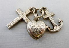 Antique Victorian Sterling Silver Faith Hope Charity Pocket Watch Fob Charm   eBay