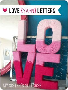 DIY Valentine Decor Ideas - Love Yarn Letters - Cute and Easy Home Decor Projects for Valentines Day Decorating - Best Homemade Valentine Decorations for Home, Tables and Party, Kids and Outdoor - Romantic Vintage Ideas - Cheap Dollar Store and Dollar Tree Crafts http://diyprojectsforteens.com/diy-valentine-decor-ideas
