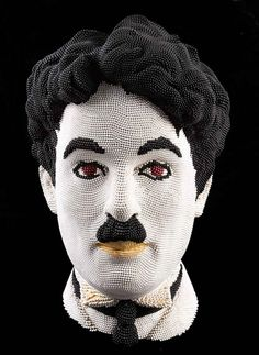 """Sculptures made of over 50,000 matchsticks by David Mach - From the series """"Matchheads"""". For the past 30 years, David has created sculptures from thousands of matchsticks including the faces of Marylin Monroe, Charlie Chaplin, and many others.   #Art  """