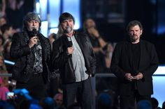 Randy Owen and Teddy Gentry Photos Photos - (L-R) Recording artists Randy Owen, Teddy Gentry and Jeff Cook of music group Alabama speak onstage during the 50th Academy Of Country Music Awards at AT&T Stadium on April 19, 2015 in Arlington, Texas. - 50th Academy Of Country Music Awards - Show