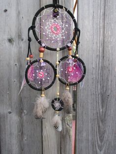 Black and purple dreamcatcher Wall hanging by FineBubbles on Etsy
