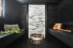 Modern meets traditional in this year's sauna design! Traditional materials like…