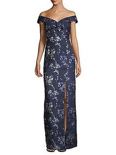 4cac45d3380f2a1 Aidan Mattox Off-The-Shoulder Metallic Floral Brocade Gown Aidan Mattox,  Masquerade Ball