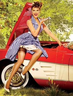 Pin up with my fav car.  Cat so can do with your dad's car.