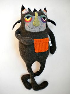look at this cute colorful Stuffed Animal Halloween Monster Upcycled Wool Felted Sweater. by Amanda of sweetpoppycat on Etsy.