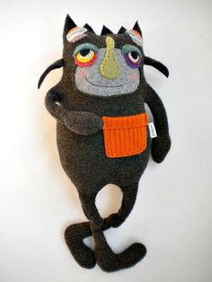 Stuffed Animal Halloween Monster Upcycled Wool by sweetpoppycat, $48.00