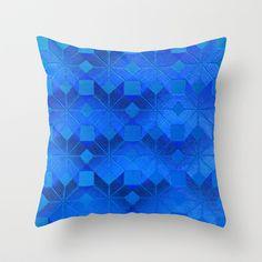 Twilight Throw Pillow by Gréta Thórsdóttir - $20.00 #scandinavian #snowflake #pattern #blue #cobalt #ombre #nightfall #livingroom