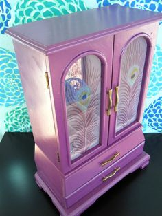 Jewelry Box in Plum Purple with Peacock Feather by kristinabalina, $75.00