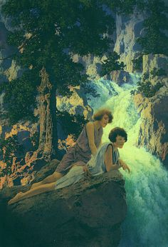 Waterfall by Maxfield Parrish