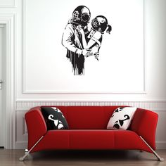 Style and Apply Banksy 'Deep Love' wall decal, sticker, mural, vinyl art home decor