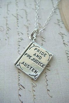 """""""Pride and Prejudice"""" book necklace. (By charms4you on Etsy)"""