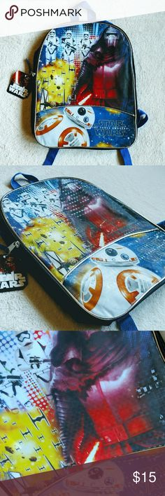 "Star Wars NWT The Force Awakens Boy Backpack This brand new book bag has a shinny front featuring BB-8, tie fighters, storm troopers and Kylo Ren. Perfect for any Star Wars lover!  Measures 15"" x 11.5"".   Tags: star wars, the force awakens, Kylo Ren, bb8, BB-8, storm troopers, tie fighters, men's, geekery, geek bag, Boy, elementary school, back pack, backpack, new, nwt, brand new, blue, large, teens, book bag Star Wars Other"