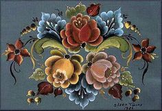 Rosemaling is an old Folk Art form that began in One Stroke Painting, Tole Painting, Fabric Painting, Painting & Drawing, Folk Art Flowers, Flower Art, Flower Types, Rosemaling Pattern, Norwegian Rosemaling