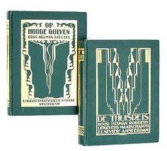 Op Hooge Golven - Herman Robbers, 1924 (2e deel in drieluik Een Mannenleven). Bandversiering: N.Schrier, goud op groen linnen. De Thuisreis (3e deel in drieluik Een Mannenleven)