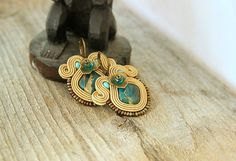 Light brown soutache earrings hazel soutache earrings by pUkke
