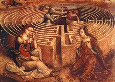 Teseu e a viagem a Creta: o Labirinto e o Minotauro, c. 1500-1525 [DETALHE] Mestre dos Cassoni Campana (pintor francês ou italiano, ativo em Florença) óleo sobre painel de madeira, 69 x 155 cm Museu Petit Palais, Avignon, França