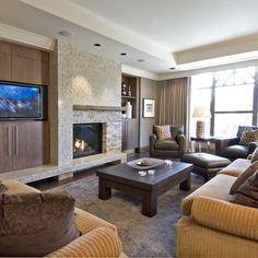 Entertainment Wall Units With Fireplace Design Ideas, Pictures, Remodel and Decor