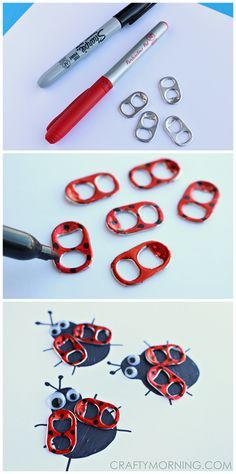 Soda Pop Tab Ladybug Craft for Kids or adults to make spring cards! | CraftyMorning.com