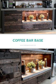 Wood Coffee Bar Base with Shelf