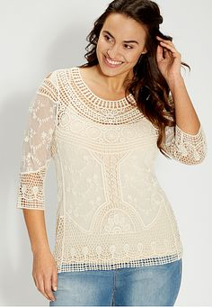 plus size crochet and embroidered mesh top (original price, $39) available at #Maurices