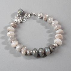 Mystic Labradorite Rainbow Moonstone Bracelet Sterling by DJStrang