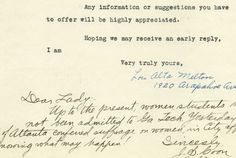 In 1919, engineer Lou Alta Melton wrote to engineering schools, looking for other female engineers. Here is what they said: https://www.theatlantic.com/technology/archive/2017/05/historic-rejection-letters-to-women-engineers/527793/