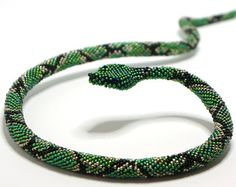 Collana Serpente bracciale uncinetto perline di Bigiotteriapoliova