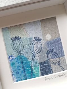This piece of original textile art depicting poppy seed heads has been handmade by me, and gives you a truly unique piece of my work for your home or to give as a gift. To make this textile picture Ive used appliqué and a technique called free motion machine embroidery which is