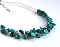 wire crochet  jewelry | Turquoise Necklace, Wire Crochet Necklace, Howlite Necklace