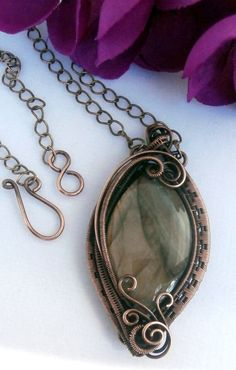 Wire Wrapped Pendant Necklace, REVERSIBLE, Labradorite and Copper, Handmade Wire Weaved Jewelry