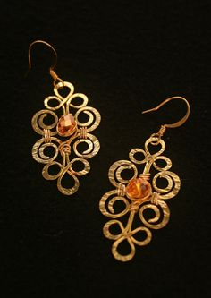 Brass Celtic Style Earrings With Yellow by MysticMetalDesigns, $25.00