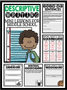 Descriptive Writing: Mini Lessons for Middle School Students - Resources and Activities!