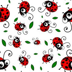 Cute Ladybug Pattern fabric by inspirationz on Spoonflower - custom fabric