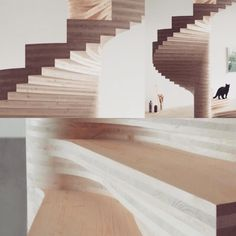 "mid-century-furniture: "" Really fantastically done spiral stairs #stairs #ply #wood #woodwork #spiralstairs #woodstairs """
