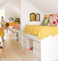 could also do as built ins/   Oh, yes! This is beyond fantastic! The only thing they need is railings on the side of the bed so that little ones don't fall out... Great idea for Finished out attic space.