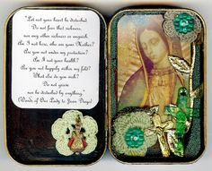 mini altars using Altoid tin cans.  You could fit a tiny tea light in there... a small rosary even. Home Altar, Altered Tins, Altered Art, Tin Boxes, Sacred Heart, Scrapbook, Prayer Box, Dioramas, Tin Art