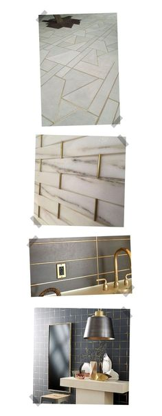 Metallic Home Decor To Spice Up Any Living Space 5 Home Decor Trends: Gold Grout Interior Exterior, Home Interior, Interior Decorating, Home Decor Trends, Diy Home Decor, Inspiration Design, Grey Flooring, Tile Design, Decoration
