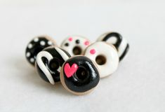 6 Black & White Donut Pushpins - Set of 6 Polymer Clay Food Push Pins