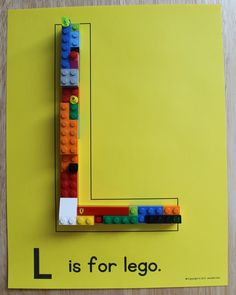 L is for lego - Editable ABC pages with small toys, manipulatives, play dough, or for art projects.