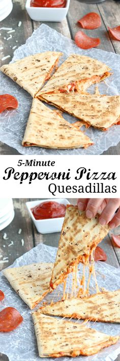 This easy Pepperoni Pizza Quesadilla recipe takes just minutes! With fiber-rich whole grains and lots of protein, it's perfect as a quick meal or a hearty power snack! {ad} | www.TwoHealthyKitchens.com #pepperoni_pizza_recipes
