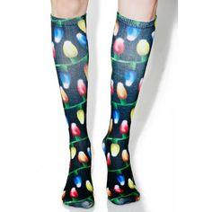 Christmas Lights Socks ($15) ❤ liked on Polyvore featuring intimates, hosiery, socks, knee hi socks, christmas knee socks, christmas socks, christmas hosiery and knee socks