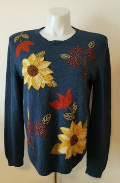 Alfred Dunner Women's Sweater Beaded Floral Blue Size Medium M Free Ship  | eBay