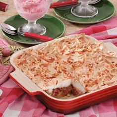 """A delightful tangy rhubarb filling tops the shortbread crust in this recipe from field editor Patricia Staudt of Marble Rock, Iowa. The tender meringue will melt in your mouth!"""""""