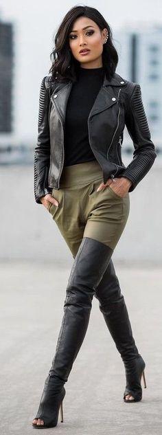 #streetstyle   #Fashion  | Black Biker Jacket, Black Sweater, Khaki Safari Pants, Peep Toe OTKB | Micah Gianneli
