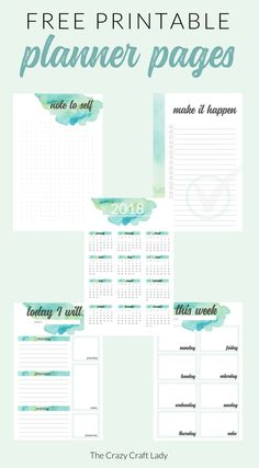Free Watercolor Printable Planner Pages – download and print these FREE planner pages from The Crazy Craft Lady #planneraddict #planner #plannerlove