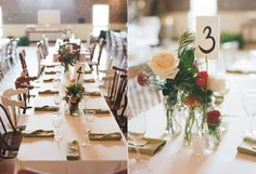Ruffled | Natural + Romantic Wedding with Macrame Details  Long reception tables with mismatched chairs. Mason jar flowers. Hand painted table numbers.  Photographer: Jeffrey C. Gleason Photography Event Design, Planning, and Stationery: Tart Event Co. Florist: The Green Flamingo Food Truck: Boka Kantina Wedding Cake: WPA Bakery Furniture Rentals and Decor: Paisley and Jade Linens: Glamour Linens